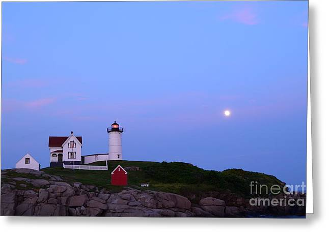 Cape Neddick Greeting Cards - Nubble Lighthouse with Moon Greeting Card by Aaron Edrington
