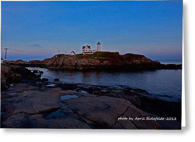 Cape Neddick Lighthouse Greeting Cards - Nubble Lighthouse-York Maine Greeting Card by April Bielefeldt