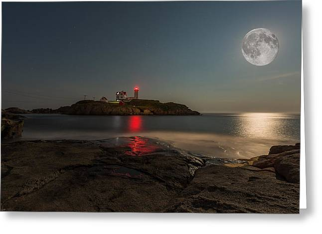 Cape Cod Mass Greeting Cards - Nubble Moon Greeting Card by James Weyand