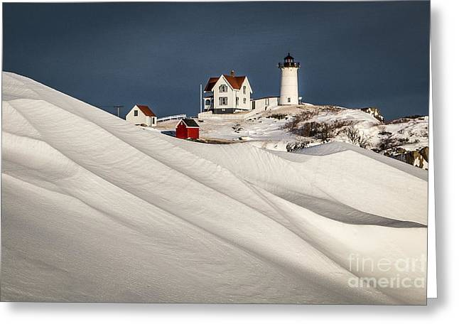 Cape Neddick Lighthouse Greeting Cards - Nubble Snow Drift Greeting Card by Benjamin Williamson