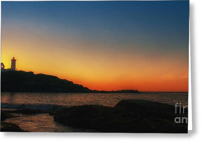 Cape Neddick Lighthouse Greeting Cards - Nubble sunrise Greeting Card by Scott Thorp
