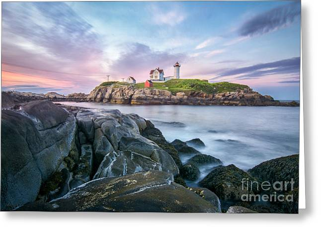 Cape Neddick Lighthouse Greeting Cards - Nubble Sunset Greeting Card by Scott Thorp