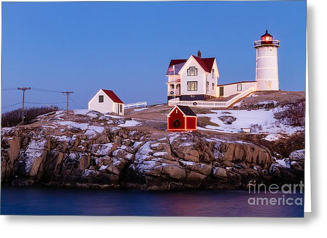 Winter Night Greeting Cards - Nubble Twilight York Maine Greeting Card by Dawna  Moore Photography