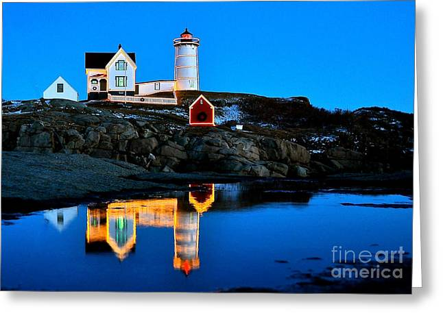 Cape Neddick Lighthouse Greeting Cards - Nubbles Reflection Greeting Card by Greg Kretschmar