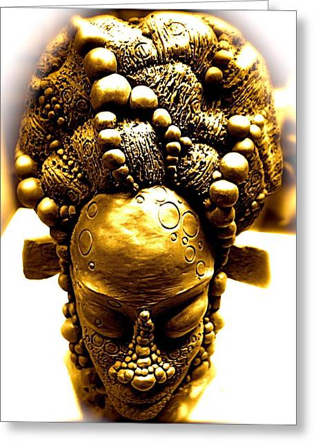 Treasures Sculptures Greeting Cards - Nubia Indigo  Greeting Card by Donna Lee Bolden Kerr