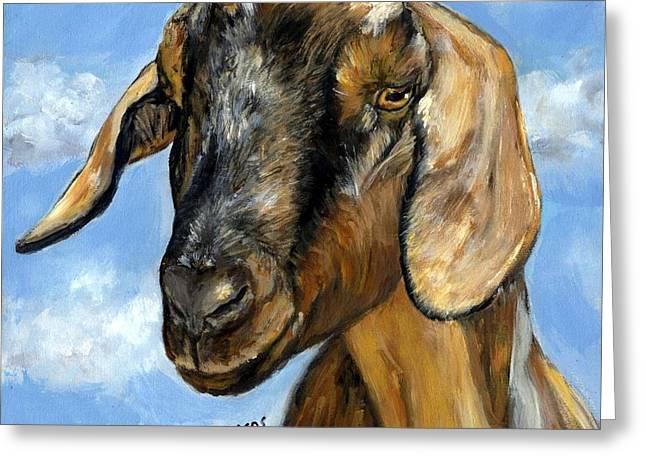 Nubian Goat Portrait Greeting Card by Dottie Dracos