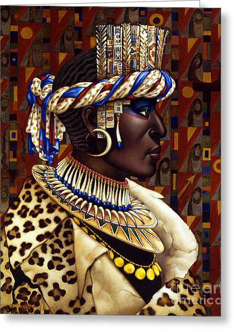 Leopard Skin Greeting Cards - Nubian Prince Greeting Card by Jane Whiting Chrzanoska