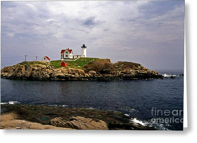 Maine Beach Greeting Cards - Nuble Lighthouse Greeting Card by Skip Willits