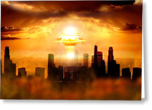 Finishing Greeting Cards - Nuclear Blast Behind City Greeting Card by Panoramic Images