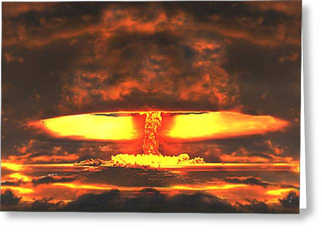 Experiment Greeting Cards - Nuclear Explosion Greeting Card by Panoramic Images