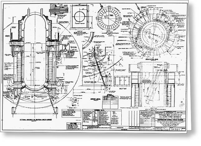 Component Photographs Greeting Cards - Nuclear Power Plant Components, Diagram Greeting Card by Library Of Congress