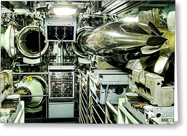 Redoutable Greeting Cards - Nuclear submarine torpedo room Greeting Card by Weston Westmoreland