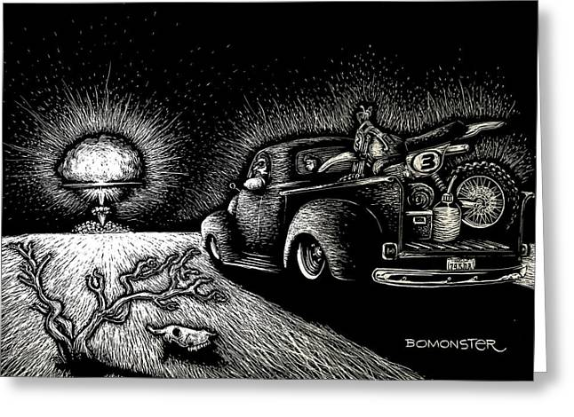 Hot Rodder Greeting Cards - Nuclear Truck Greeting Card by Bomonster