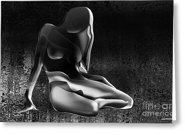 Decorative Nude Greeting Cards - Nude 02 black and white Greeting Card by Christian Simonian