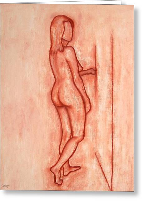 Curtains Drawings Greeting Cards - Nude 1 Greeting Card by Patrick J Murphy