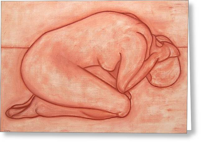 Abstractions Drawings Greeting Cards - Nude 19 Greeting Card by Patrick J Murphy