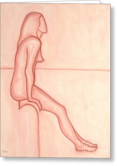 Curtains Drawings Greeting Cards - Nude 2 Greeting Card by Patrick J Murphy