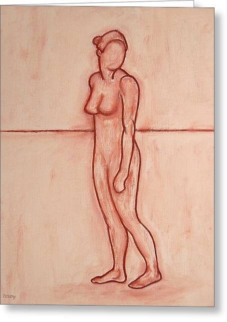Abstractions Drawings Greeting Cards - Nude 39 Greeting Card by Patrick J Murphy