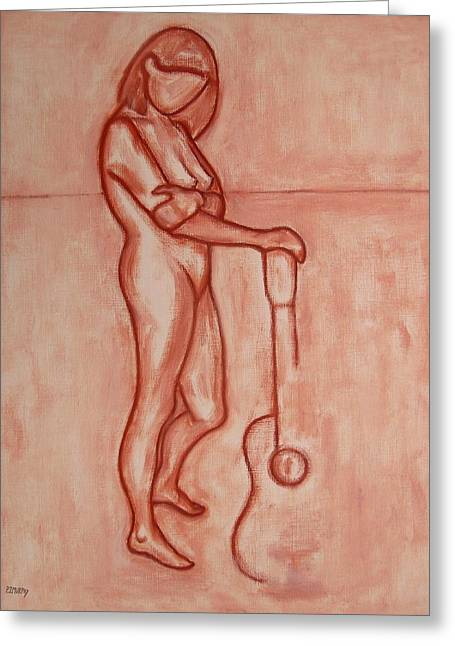 Figurative Drawing Drawings Greeting Cards - Nude 46 Greeting Card by Patrick J Murphy
