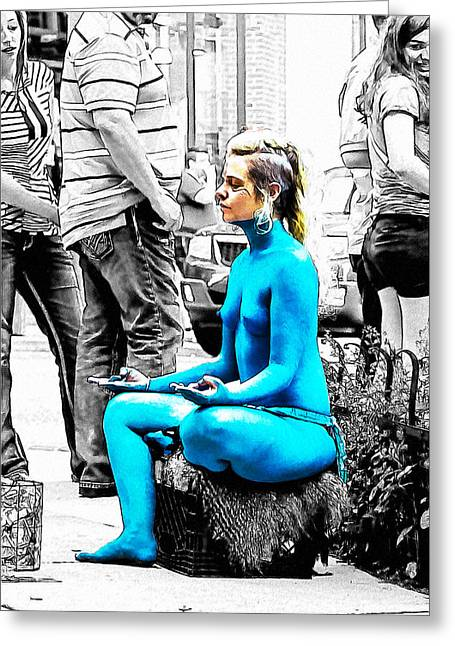 Town Mixed Media Greeting Cards - Nude a la Smurf Greeting Card by John Haldane