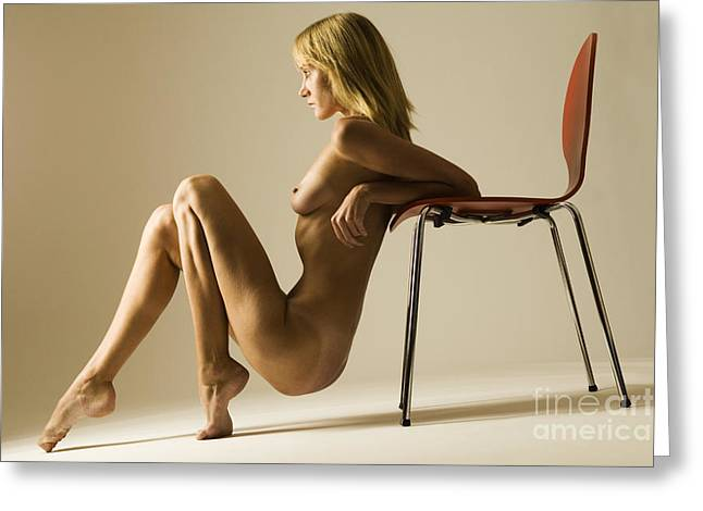 Erotic Greeting Cards - Nude and chair Greeting Card by John Tisbury