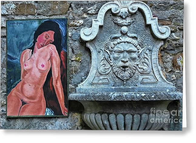 Modigliani Photographs Greeting Cards - Nude and Fountain Greeting Card by Allen Beatty