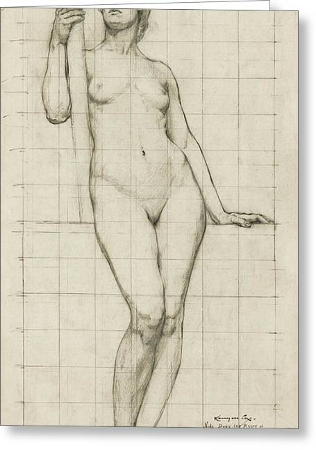 Figure Sculpture Greeting Cards - Nude Architectural Figure Study  1896 Greeting Card by Daniel Hagerman