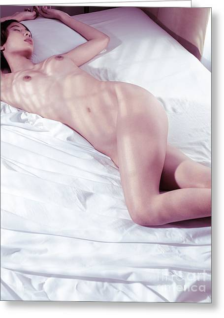 Sexiness Greeting Cards - Nude asian woman sleeping naked Greeting Card by Oleksiy Maksymenko