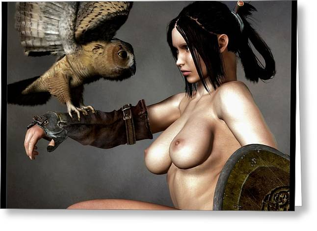 Owl Of Minerva Greeting Cards - Nude Athena With Owl and Shield Greeting Card by Kaylee Mason