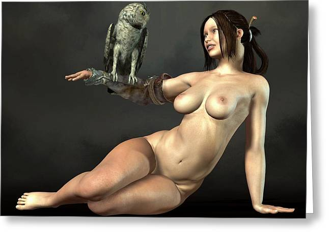 Owl Of Minerva Greeting Cards - Nude Athena With Owl Greeting Card by Kaylee Mason