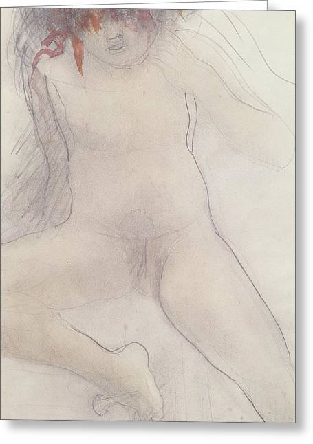 Nude Greeting Card by Auguste Rodin