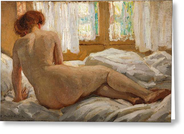 Emanuel Greeting Cards - Nude Bathed in Sunlight Greeting Card by Emanuel Phillips Fox