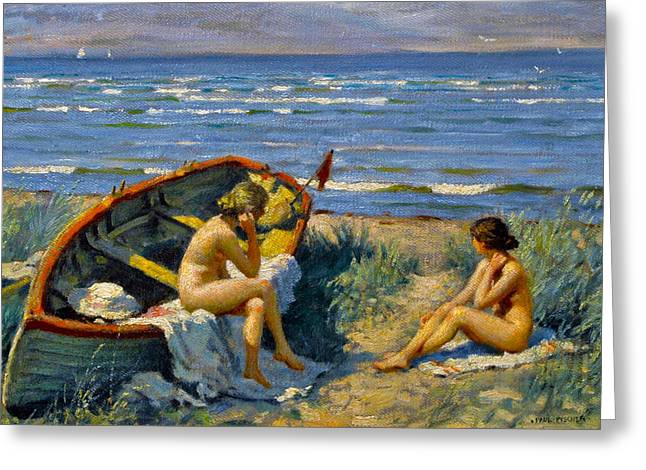 Seascape With A Boat Greeting Cards - Nude Bathers With A Boat Greeting Card by Paul Gustav Fischer