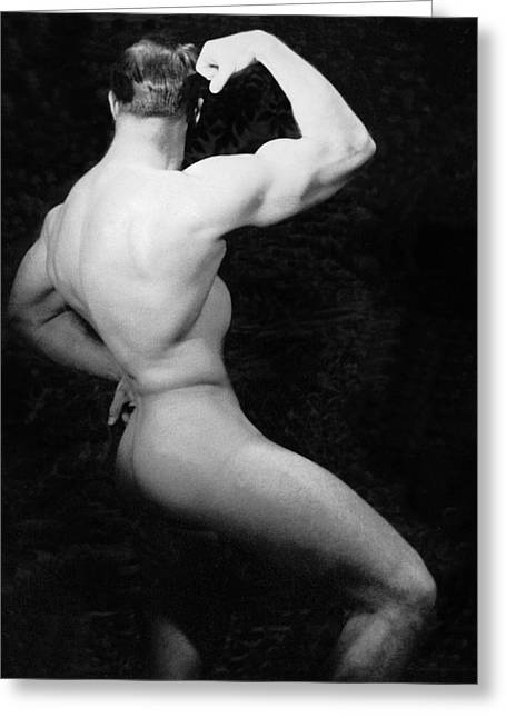 Conscious Greeting Cards - Nude Bodybuilder Side View Greeting Card by Underwood Archives