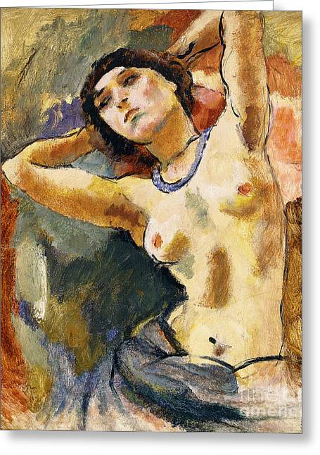 Jewelery Greeting Cards - Nude Brunette with Blue Necklace Nu La Brune au Collier Bleu Greeting Card by Jules Pascin