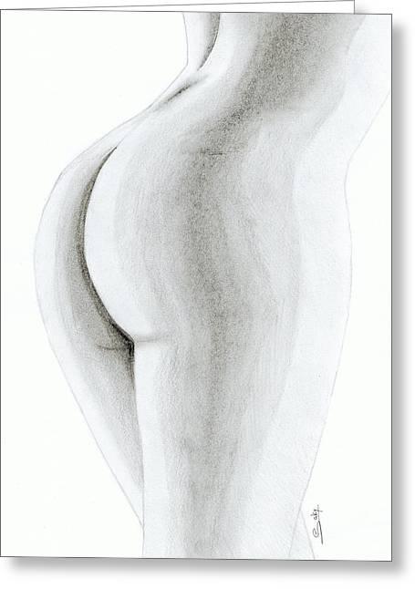 Saki Art Greeting Cards - Nude Buttock Greeting Card by Saki Art