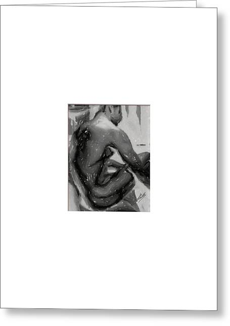Pencil Drawing Digital Art Greeting Cards - Nude charcoal Greeting Card by Joaquin Abella