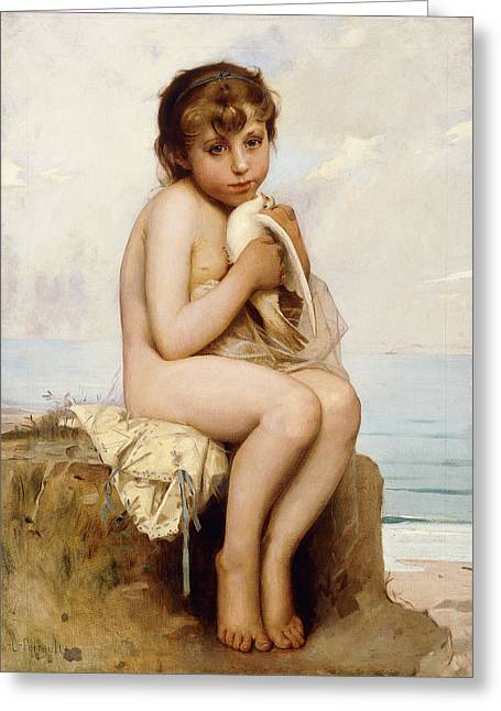 Camera Paintings Greeting Cards - Nude Child with Dove Greeting Card by Leon Bazile Perrault
