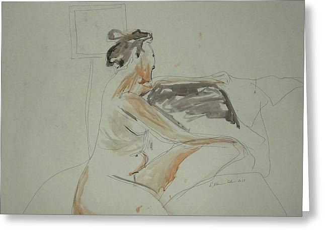 Posters Of Nudes Paintings Greeting Cards - Nude Contemplating Greeting Card by Esther Newman-Cohen