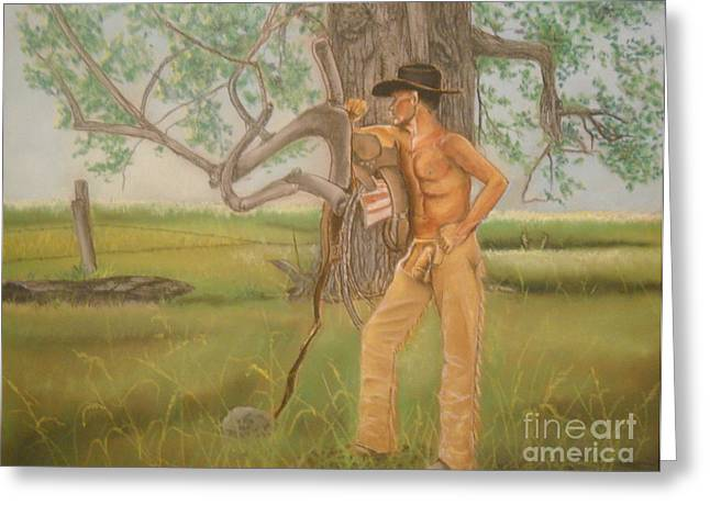 Original work Pastels Greeting Cards - Nude cowboy in chaps by the old cottonwood Greeting Card by John Nelson