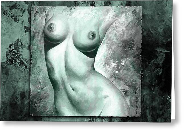 Nude Art Digital Art Greeting Cards - Nude details - Digital color version frame Aqua black Greeting Card by Emerico Imre Toth