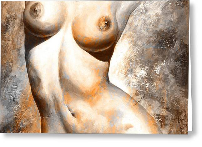 Recently Sold -  - Female Body Greeting Cards - Nude details - Digital color version rust Greeting Card by Emerico Imre Toth
