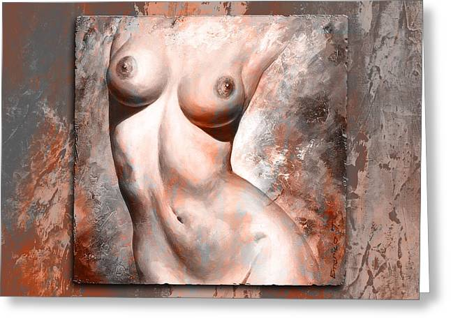 Female Body Mixed Media Greeting Cards - Nude Details style version brick and gray Greeting Card by Emerico Imre Toth