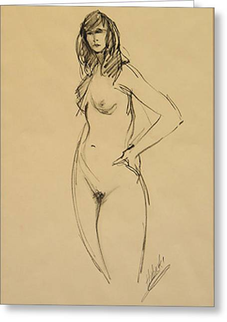 Nude Female Darkhair Beauty Greeting Card by Frederick Hubicki