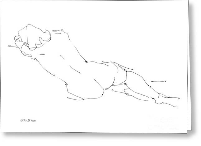 Model Drawings Greeting Cards - Nude Female Drawings 9 Greeting Card by Gordon Punt