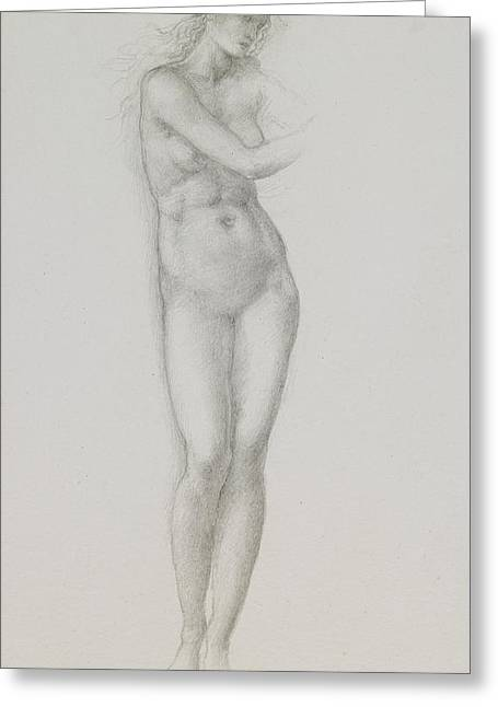 Burne Greeting Cards - Nude female figure study for Venus from the Pygmalion Series Greeting Card by Sir Edward Coley Burne-Jones