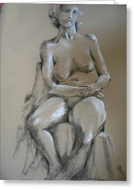 Matron Greeting Cards - Nude female Greeting Card by Joan  Jones