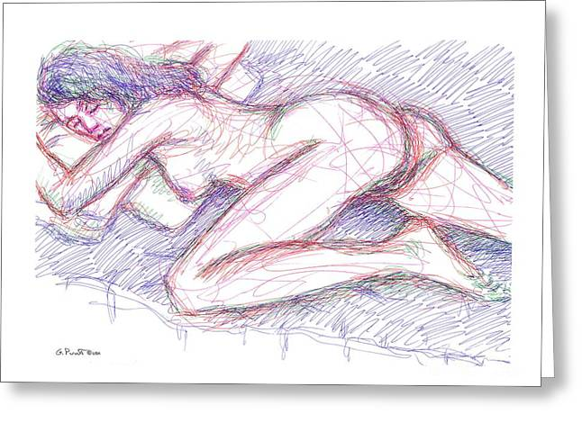 Gordon Punt Greeting Cards - Nude Female Sketches 5 Greeting Card by Gordon Punt