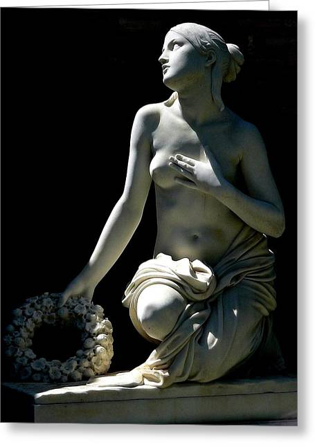 Hand On Waist Greeting Cards - Nude Female Statue Full Length Greeting Card by Jeff Lowe