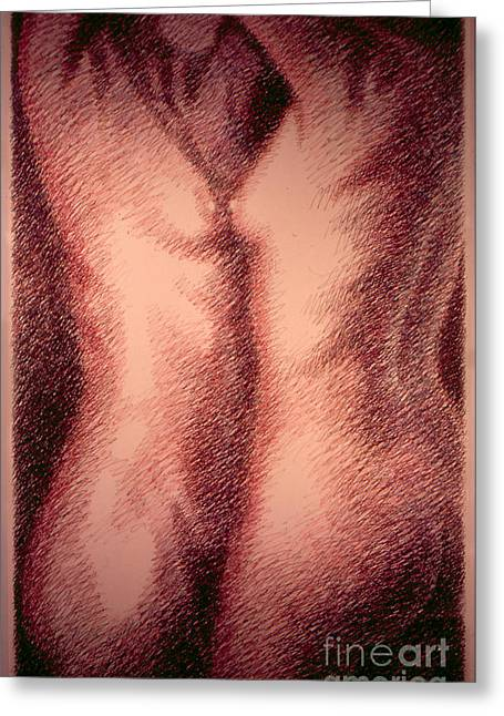 Print On Canvas Greeting Cards - Nude Female Torso Drawings 1 Greeting Card by Gordon Punt